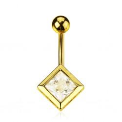 Piercing ombligo chapado-oro 01 - Cristal cuadrada