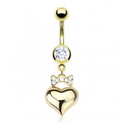 Piercing ombligo chapado-oro 11 - corazón y pajarita