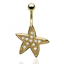 Piercing ombligo chapado-oro 26 - estrella de mar