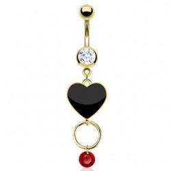 Piercing ombligo chapado-oro 28 - corazón negro y círculo