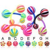 Piercing ombligo UV 13 - Flexible beach-ball bicolor