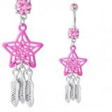 Piercing ombligo atrapa sueños 03 - estrella rosa