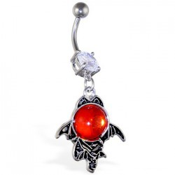Piercing ombligo gótico 08 - Gem rojo