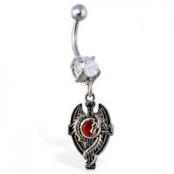 Piercing ombligo gótico 11 - Dragon gem rojo