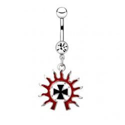 Piercing ombligo tribale 34 - cruz sol rojo