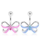 Piercing ombligo pajarita 04 - rosa ou azul claro