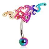 Piercing ombligo tribale 58 - invertida rainbow B