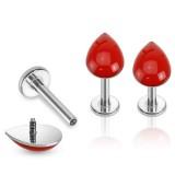 Piercing micro-labret 14 - gota rojo