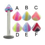 Piercing micro-labret acrílico 15 - UV Picos estriado