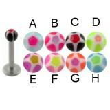Piercing micro-labret acrílico 16 - UV estrella Bola