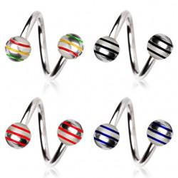 Piercing espirale 04 - acero Bolas estriado