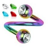 Piercing espirale 37 - PVD rainbow strass