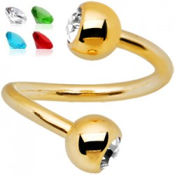 Piercing espirale 38 - chapado-oro strass