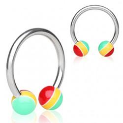 Piercing circular 14 - UV rasta Bolas