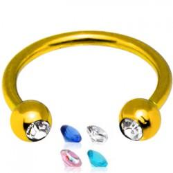 Piercing circular 24 - PVD chapado-oro strass