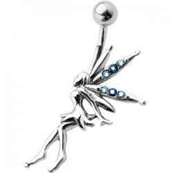Piercing ombligo hada 08 - ala con strass azul claro