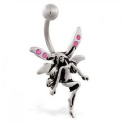 Piercing ombligo hada 28 - Strass rosa