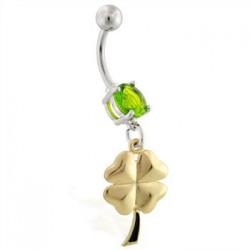 Piercing ombligo amuleto 07 - trébol