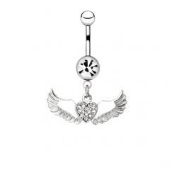 Piercing ombligo angel 16 - corazón multistrass dos alas
