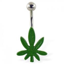 Piercing ombligo canabis 17 - verde sencillo