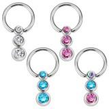 Piercing anillo 1,6mm 14 - Triple strass