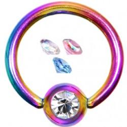 Piercing anillo 1,6mm 30 - PVD rainbow strass