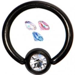 Piercing anillo 1,6mm 31 - PVD negro strass