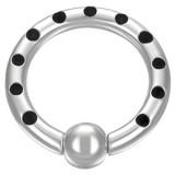 Piercing anillo en acero puntos negros 03mm