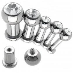 Piercing labret en acero strass transparente 4 à 6mm