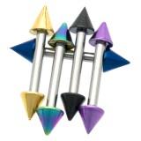 Piercing micro-barbell 57 - PVD y acero Picos
