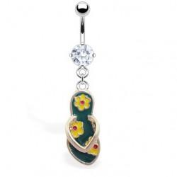 Piercing ombligo tong 13 - verde con Flors amarillos
