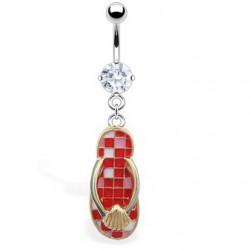 Piercing ombligo tong 16 - rojo tablero de damas