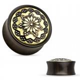 Plug curvo madera Flor colore bronce