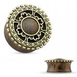 Plug curvo en madera círculo colore bronce