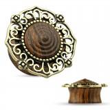 Plug curvo en madera pequeño cúpula bronce