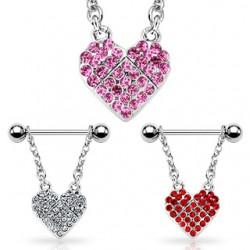 Piercing teton barbell 09 - corazóns multistrass