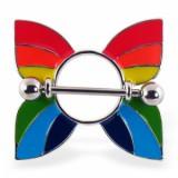 Piercing teton gay-pride 08 - mariposa rainbow