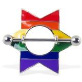 Piercing teton gay-pride 09 - estrella rainbow