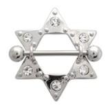 Piercing teton estrella 02 - seis strass transparentes