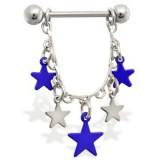 Piercing teton estrella 10 - azules y gris