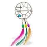 Piercing teton atrapa sueños tres plumas coloridoes (49)