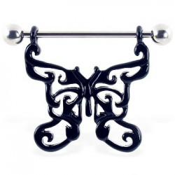 Piercing teton mariposa 01 - negro motivos hueco A