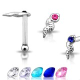 Piercing stud de nariz 0.5mm 42 - serpiente strass