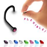 Piercing de nariz curva 1mm 09 - Flexible negro cristal