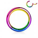 Anillo roto chapado-titanio rainbow 1mm con borde adjunto