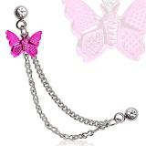 cadena de oreja 23 - mariposa rosa