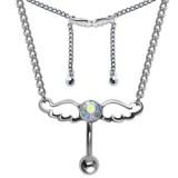 Cadena de tamaño con Piercing 17 - dos alas de ángel