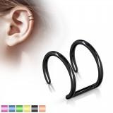 Falso-piercing oreja 07 - Doble anillo PVD