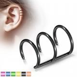 Falso-piercing oreja 08 - Triple anillo PVD