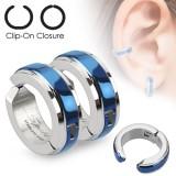 Falso-piercing oreja 43 - Clip azul (los dos)